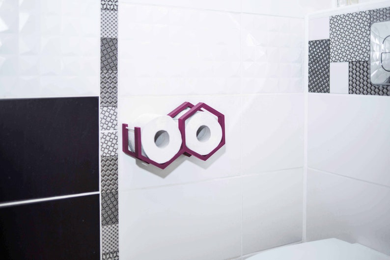 Toilet paper holder wall mounted wooden toilet paper shelf holder for toilet paper rolls mini honeycomb