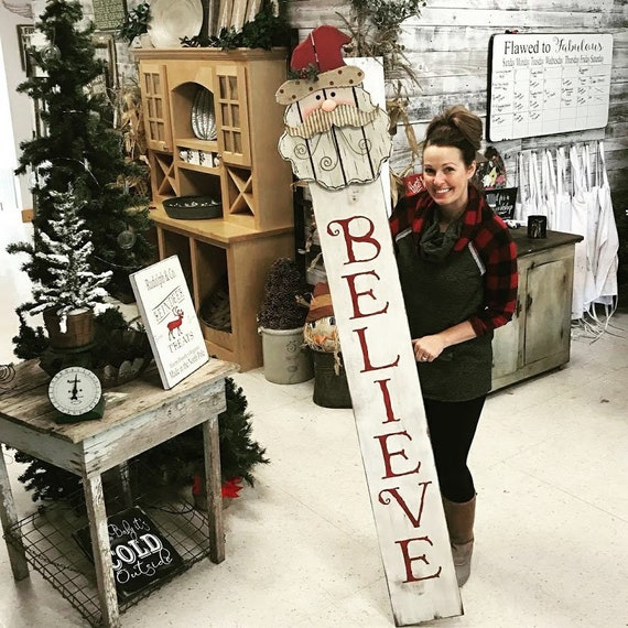Believe Porch Sign Christmas Porch Sign Tall Believe Sign Christmas Porch Decor