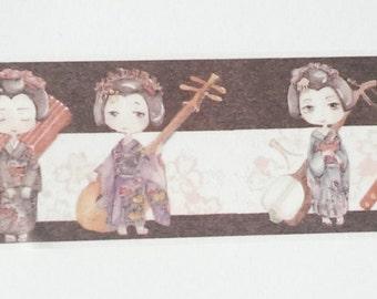 Design Washi tape Chinese girl instruments