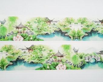 Design Washi tape Japanese Garden pond wide