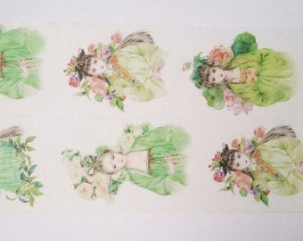 Design Washi tape Chinese girl Floral Green