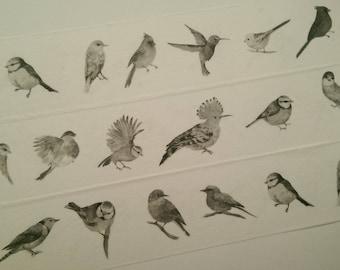 Design Washi tape birds black white