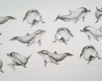 Design Washi tape grey dolphins