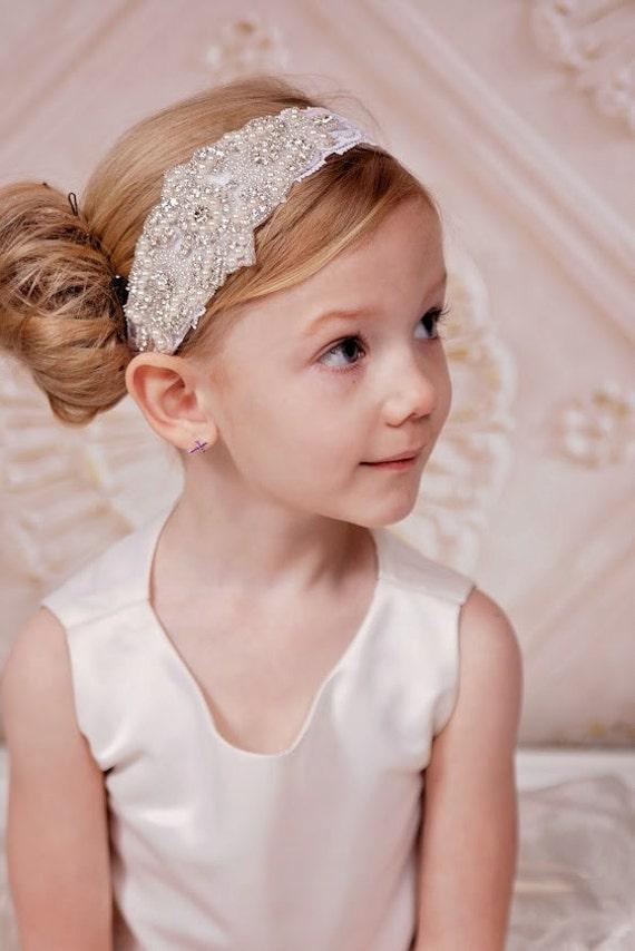 Baby Girls White Christening Wedding Any Pearl Bling Flower Headband All Sizes