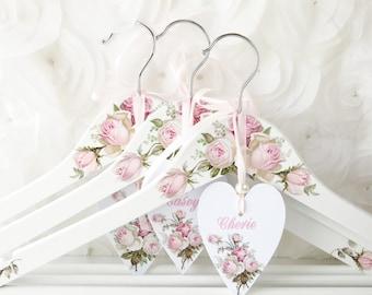 Bridesmaids hangers Mauve wedding hanger Blush pink wedding Elegant Hangers Floral hangers Personalized hangers
