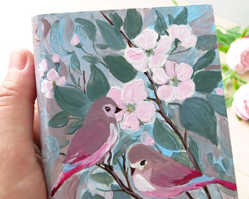 Small jewelry box wood Book shaped box Jewelry box with birds Acrylic pour box