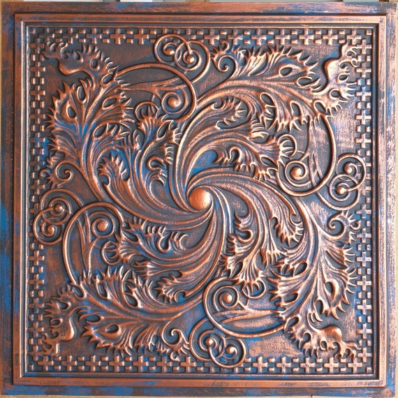 Vintage Tin Ceiling Tiles Rustic Copper Bar Store Decor Etsy