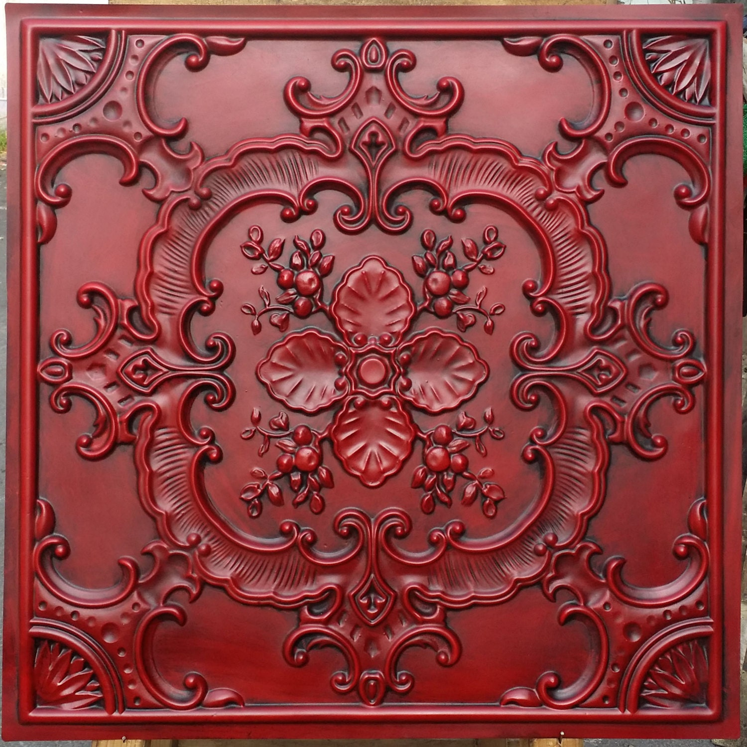 PL19 faux tin finishes artistic style antique red ceiling