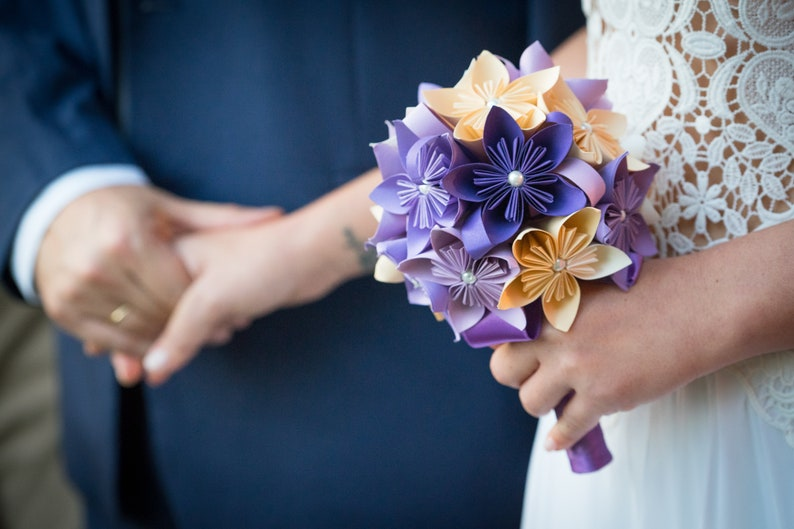 Paper bouquet wedding bouquet kusudama flowers paper image 0