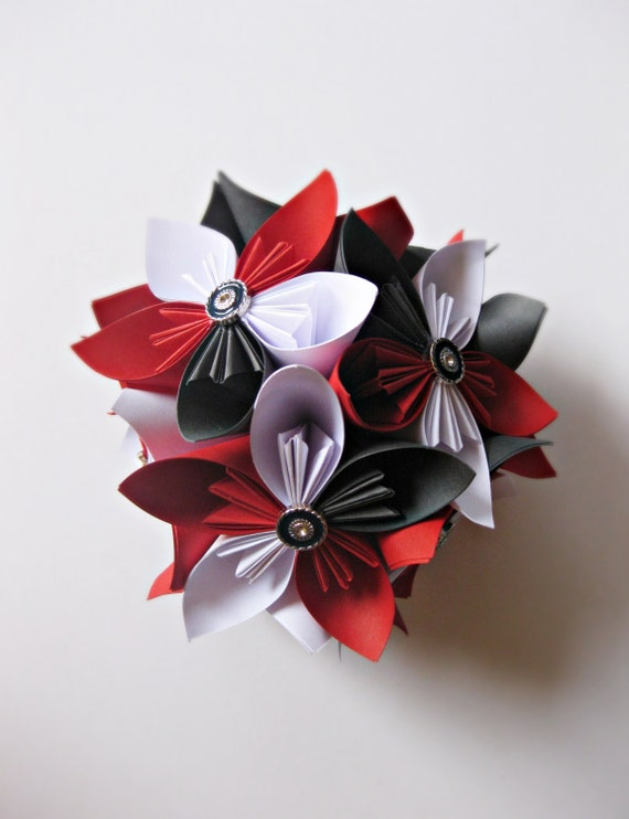 Flowers ball kusudama flowers paper flowers white red and etsy image 0 mightylinksfo