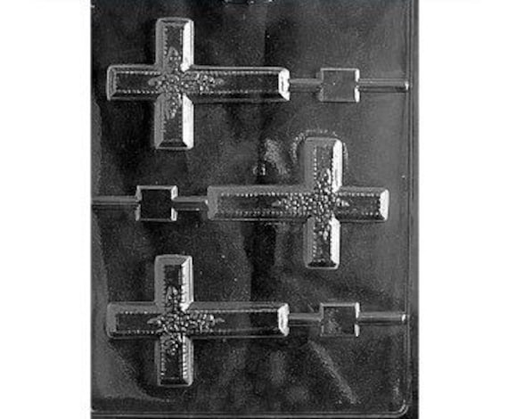 CROSS ON ROUND COOKIE CHOCOLATE CANDY MOLD MOLDS DIY PARTY FAVORS COMMUNION