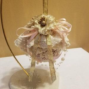 Shabby Chic Vintage Doily and Flower Ornament   Christmas Ornament Rustic Chic Wedding D\u00e9cor