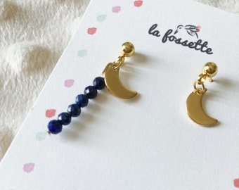 Asymmetrical earrings lapis lazuli moon