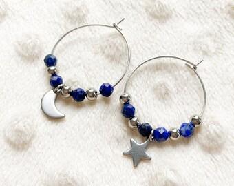 Mismatched silver creoles lapis lazuli