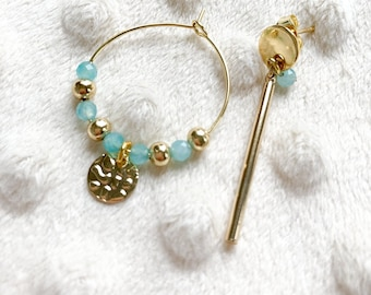 Amazonite asymmetric earrings