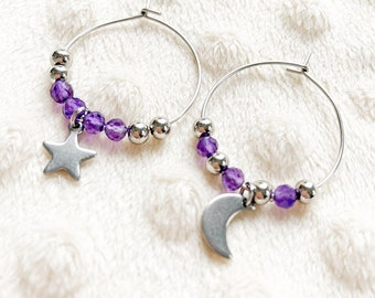 Mismatched Creoles silver amethyst