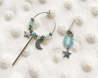 Mismatched Amazonite Silver Creoles