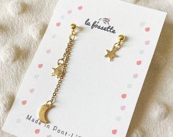 earrings elegant fleas moon and stars