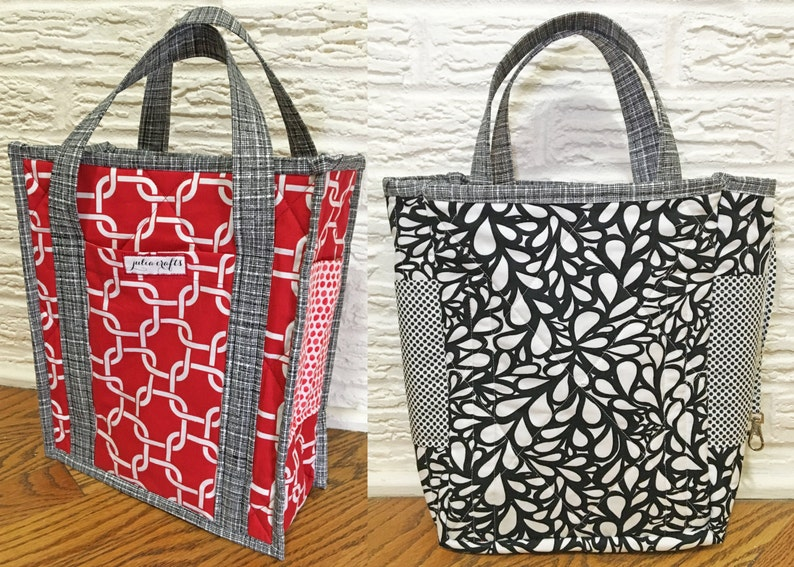 e52e72e3ec Reversible Quilted Tote Bag 6 pockets and key hook