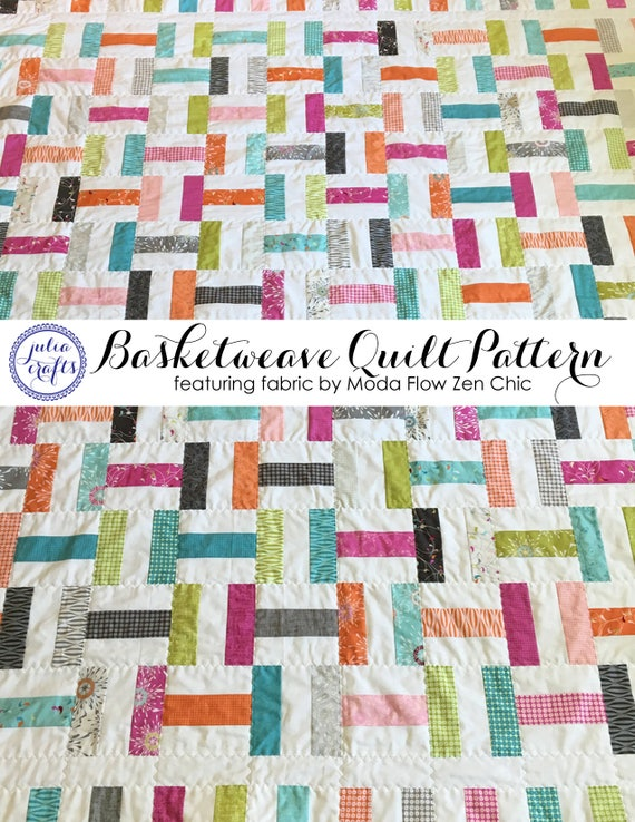 PDF Basketweave Quilt Pattern Tutorial Featuring Fabric By Etsy Unique Basket Weave Quilt Pattern