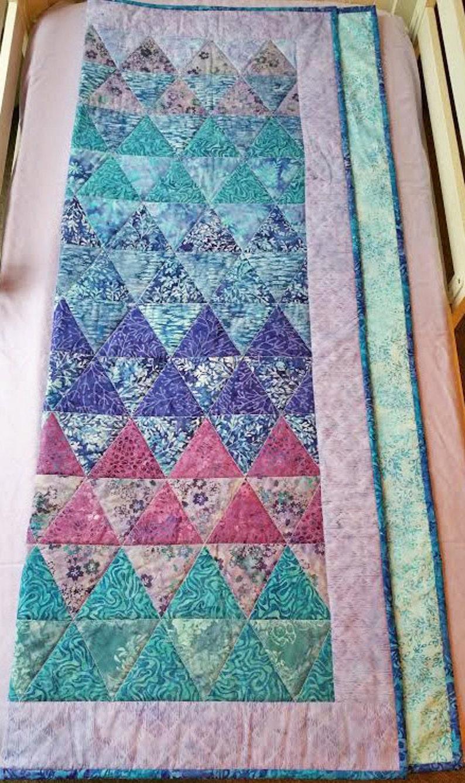 homemade baby quilt crib quilt modern batik quilt nursery Modern baby quilt modern toddler quilt triangle quilt baby quilt blanket