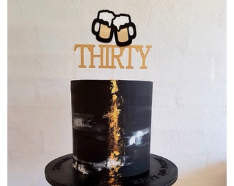 30th Birthday THIRTY Cake Topper With Clinking Beer Mugs Layered Theme Acrylic