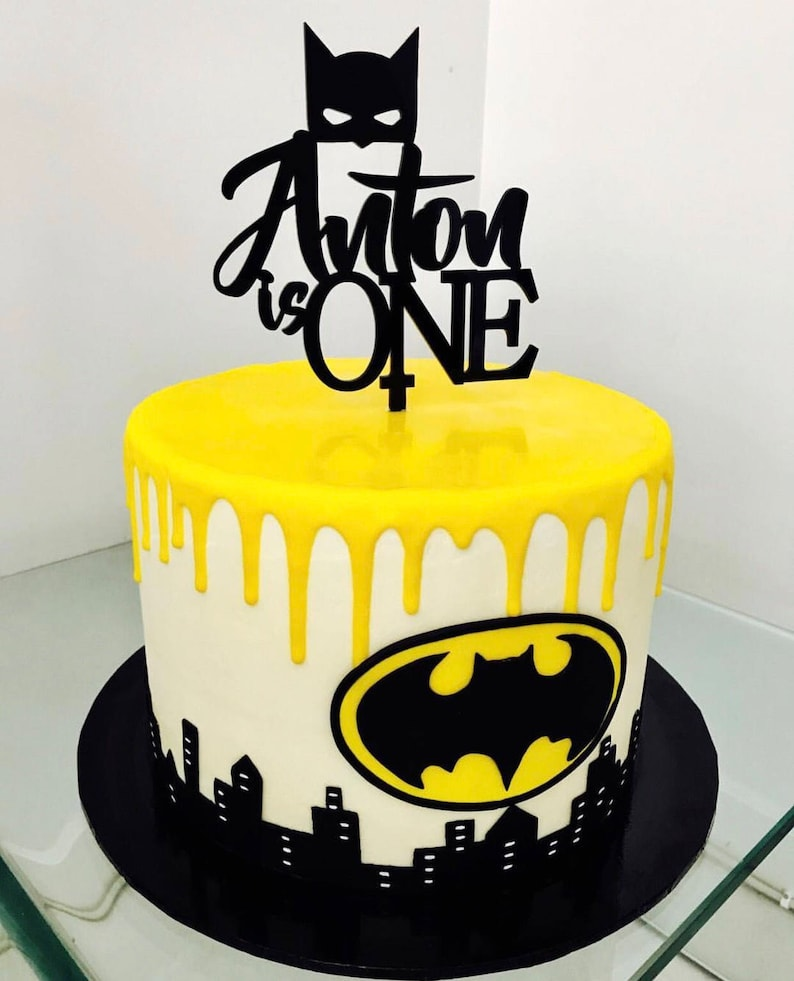 Personalised Birthday Cake Topper With Batman Mask