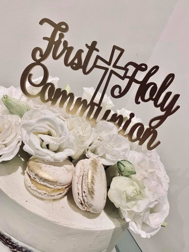 First Holy Communion Cake Topper with cross ACRYLIC// TIMBER