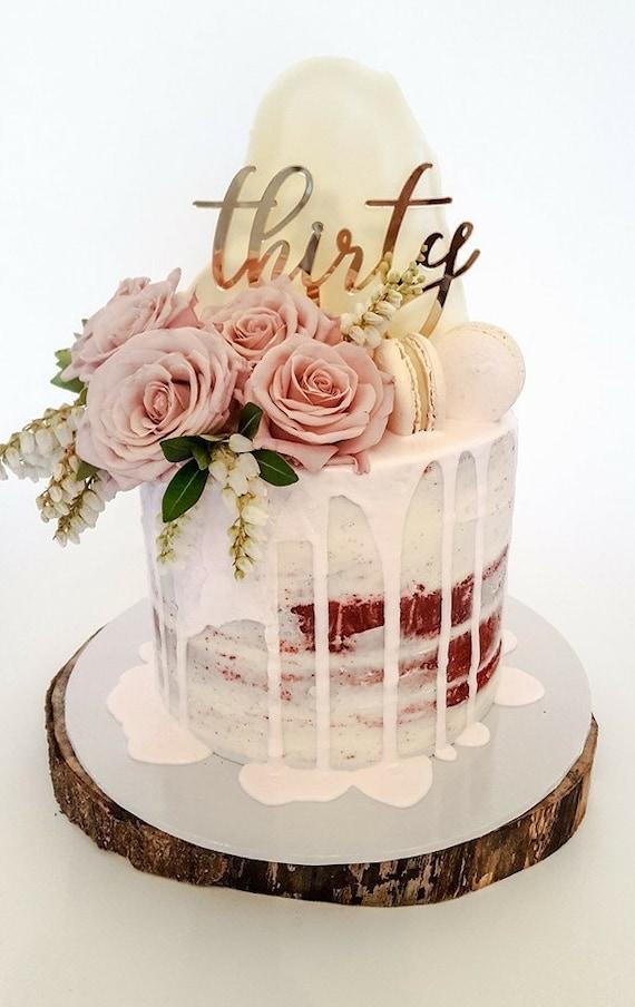30th Birthday Cake topper reads: thirty | Etsy