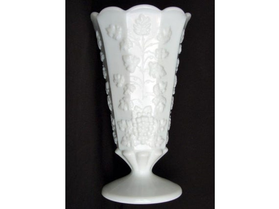 Vintage White Milk Glass Vase 9 Inches Westmoreland Etsy