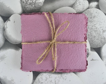 10-20 Sheets of Purple/Pink Handmade Recycled Paper - Roughly 13cm x 11.5 cm