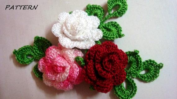 Crochet Applique Pattern Crochet Flower Pattern Crochet Mini Etsy