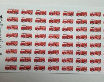 Firetruck Stickers! 64 Stickers! Great for Erin Condren, Filofax, Kikki.K, or Plum Paper Planners (225)
