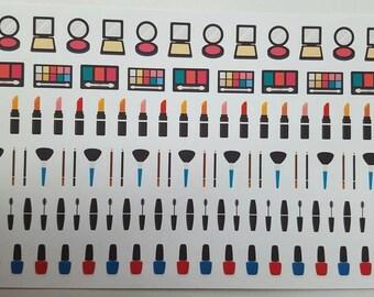 Makeup Stickers! 120 Stickers! Great for Erin Condren, Filofax, Kikki.K, or Plum Paper Planners! (221)