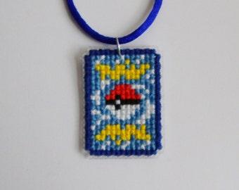 Pokemon Card Cross Stitch Necklace