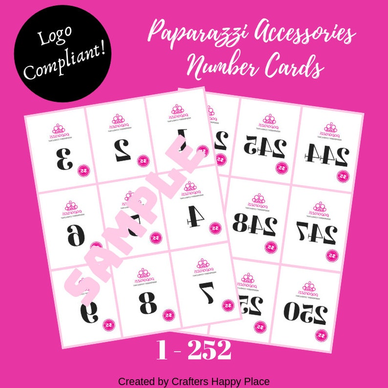 photograph regarding Paparazzi Printable Numbers titled Paparazzi Selection Playing cards 1-252 (Backwards)