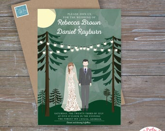 Custom Portrait Invitations, Forest Wedding, Couple Portrait Wedding Invitations, Woodland Wedding Invitations, Whimsical Wedding Invitation