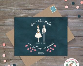 Unique Save the Date - Personalized Couple Portraits
