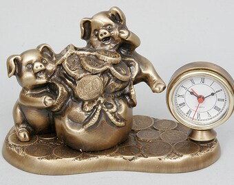 Two Pigs with Money Bag Bronze Table Alarm Clock