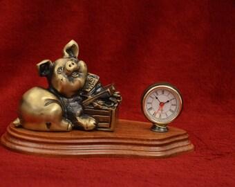 Bronze Pig with Money Chest Alarm Table Clock