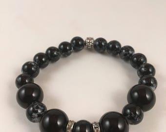 Black Speckled bracelet #200
