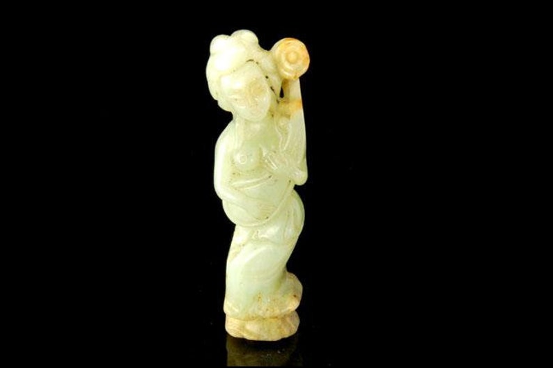 Antique Chinese Carved Green Celadon Figural Women Statue Etsy