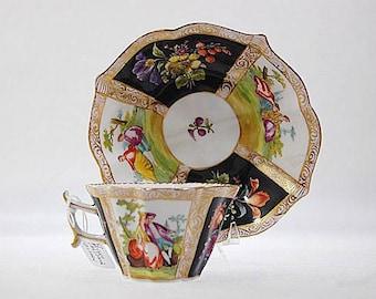 Antique German Dresden Meissen Porcelain Miniature Cup Saucer Set