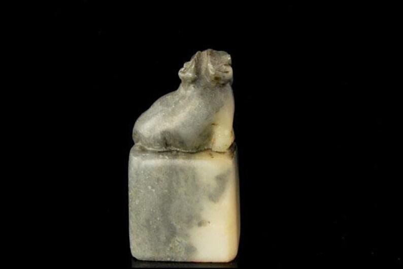 Antique Chinese Symbol Carved Black White Soapstone Foo Dog Lion Seal