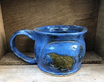 Woodland Bear Coffee Mug, Tea Cup, Pottery Mug, Handmade Coffe Mug, Stamped Coffee Mug, Ceramic Pottery Coffee Mug Expresso Mug
