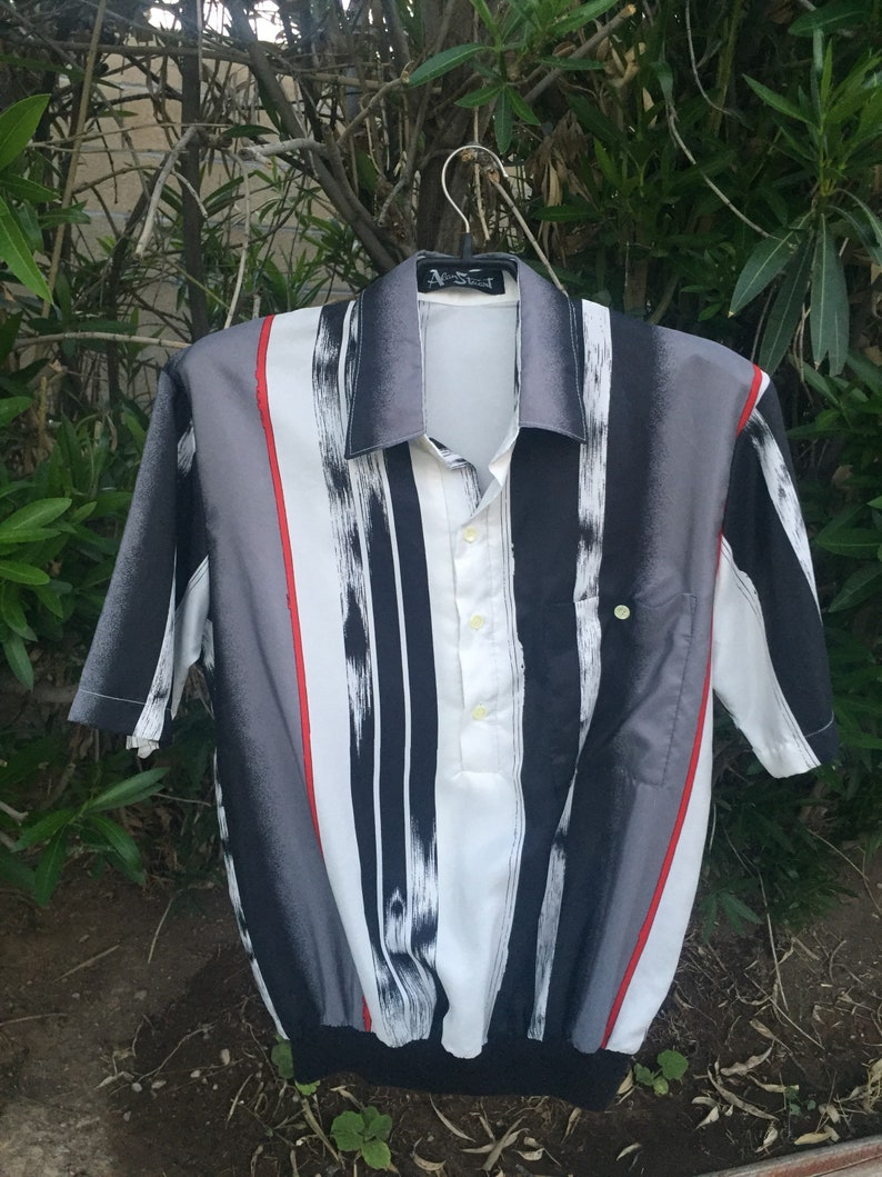417dc28086fd Alan Stuart vintage polyester striped polo with pocket ribbed