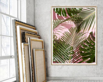 Palm Tree Print   Fashion Wall Art   Pink Blush Palm Art   Palm Tree  Photography   Gift   Pink Green Palm   Printable   Tropical Wall Decor