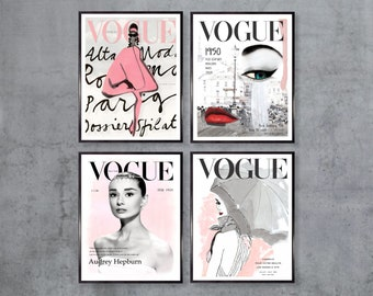 Vogue Posters - Set Of 4 Vogue Covers - Fashion Wall Art - Audrey Hepburn Print - Vogue Prints - Gift For Her - Original Art work