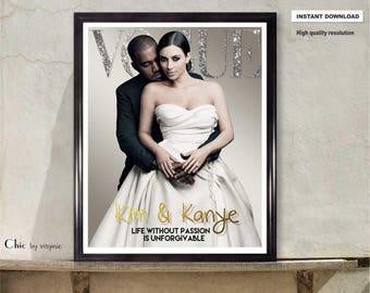 ae0b64dae6961 Kardashians - Vogue Poster - Kim Kardashian - Fashion Wall Art - Fashion  Print - Printable Art - Vogue Print - A1 - 16x20 and 8x10 Inches -