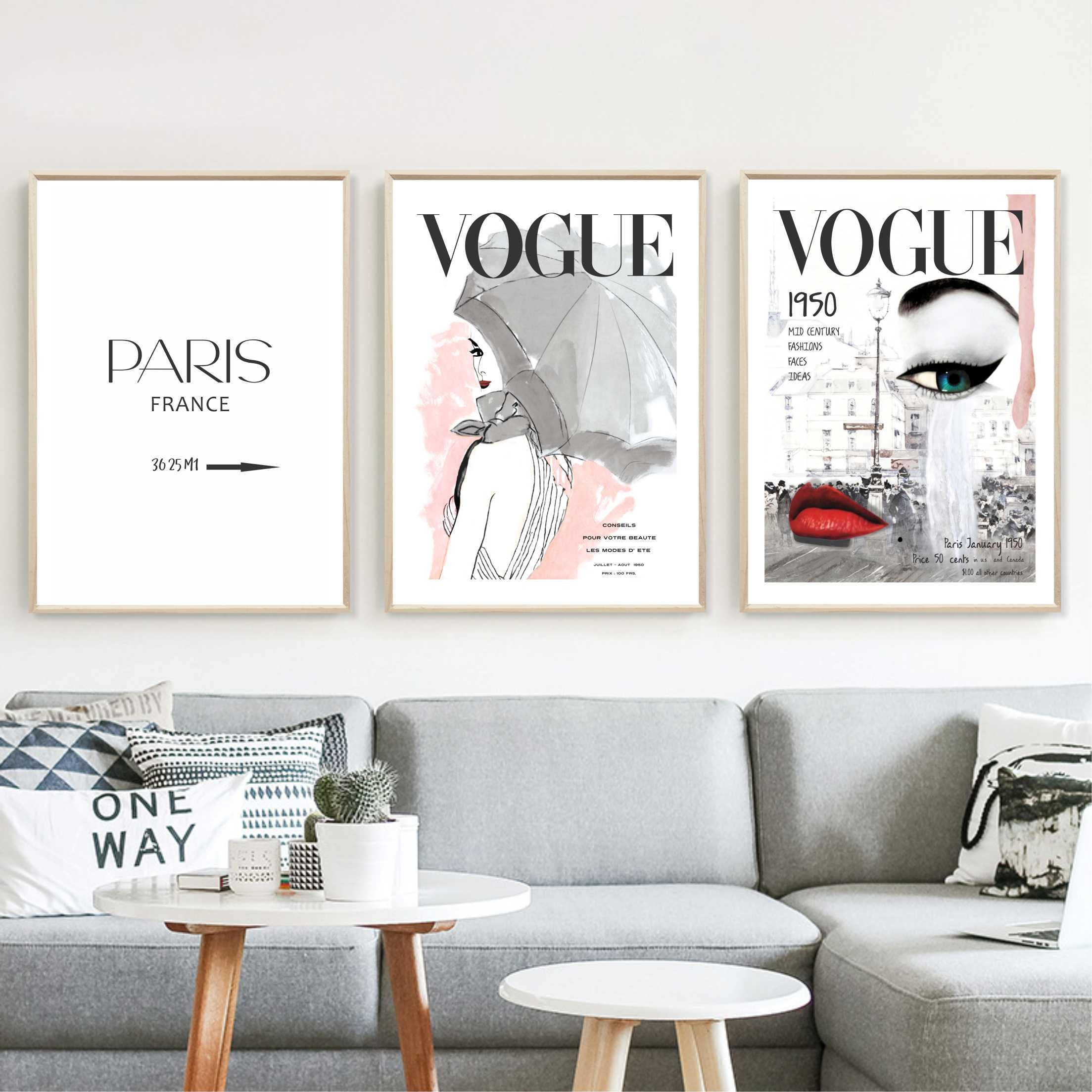 Vogue Posters Fashion Wall Art Set Of 3 Prints Home Decor
